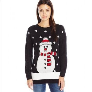 Holiday Snowman NEW Ugly Sweater Black by Mesh + Lace